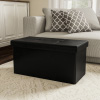 Large Foldable Storage Bench Ottoman ? Tufted Faux Leather Cube Organizer Furniture for Home, Bedroom, Living Room, Dorm or RV by Lavish Home (Black)
