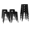 Metal Bar Stool Set-24? Counter Height, Set of 4 Stackable Stools, Square Industrial Seat, Farmhouse Backless Style by Lavish Home (Black)