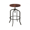 Swivel Bar Stool-Adjustable Backless Bar or Counter Height Kitchen Stool-Metal with Elm Wood Seat-Modern Farmhouse Accent Furniture by Lavish Home