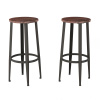 Bar Height Stools-Backless Seating for Kitchen or Dining Room-Metal Base, Wood Seat- Modern Farmhouse Accent Furniture by Lavish Home (Set of 2)