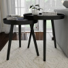 Nesting End Tables Circular Mid-Century Modern MDF Wood Contemporary D�cor and Home Accent Table with Tray Top by Lavish Home (Black, Set of 2)