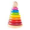 Rainbow Stacking Rings - Classic Wooden Montessori Manipulation Toy for Babies and Toddlers to Learn Colors, Numbers and Patterns by Hey! Play!