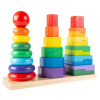 Rainbow Stacking Shapes - Classic Wooden Montessori Manipulation Toy for Babies and Toddlers to Learn Colors, Shapes and Patterns by Hey! Play!