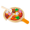 Pretend Play Pizza Set-Wooden Toy Food with Board, Crust, Cutter, Sauce, Cheese and Toppings-Creative Play Kitchen Accessories for Kids by Hey! Play!