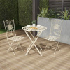 Folding Bistro Set ? 3PC Table and Chairs with Lattice & Flower Design ? Outdoor Furniture for Garden, Patio, Porch by Lavish Home (Antique White)