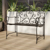 Folding Garden Bench ? Outdoor Seating with Scrollwork Design ? Durable and Stylish Accent Furniture for Porch or Patio by Lavish Home (Antique Black)