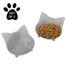 Set of 2 Cat-Shaped Dishes Shallow Melamine Resin Saucers for Food and Water with Nonslip Rubber Bottoms for Whisker Relief ? 8 Fl. Oz. by Petmaker