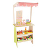 Kids Fresh Market Selling Stand? Wooden Grocery Store Playset with Toy Cash Register, Scale, Pretend Credit Card and 31 Food Accessories by Hey! Play!