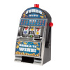 Slot Machine Coin Bank ? Electronic Realistic Mini Tabletop Novelty Casino Style Toy with Lever for Kids and Adults by Trademark Gameroom (Burning 7s)
