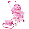 Deluxe Toy Pram for 18? Baby Dolls- Foldable, Pink Carriage with Diaper Bag, Storage Basket and Canopy for Little Girls, Boys, and Kids by Hey! Play!