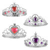 Princess Crowns-Set of 4 Silver Tiaras with Gem Detail-Pretend Play Dress Up Costume Accessories for Tea Parties, Halloween, Birthdays by Hey! Play!
