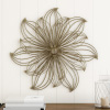 Wall Decor-Metallic Layered Large Wire Flower Sculpture Modern Hanging Accent Art for Living Room, Bedroom or Kitchen by Lavish Home (Gold)