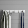 Wall Hook Rail-Mounted Hanging Rack with 5 Retractable Hooks-Storage Organization D�cor for Coats, Towels, Bags and More by Lavish Home (White)