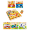 Vehicle Block Puzzle- 6-in-1 Set of Patterns on 16 Wood Cubes in a Storage Tray- Ambulance, Ship, Fire Truck, Airplane, Taxi, Police Car by Hey! Play!