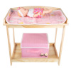 Baby Doll Changing Table for 18? Dolls & Stuffed Animals- Wooden Diaper Station, Changing Pad, Storage Basket for Toys & Accessories by Hey! Play!