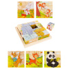 Animal Block Puzzle- 6-in-1 Zoo Patterns - Elephant, Monkey, Rabbit, Kangaroo, Panda & Deer, 16 Wood Cubes in Storage Tray for Kids by Hey! Play!