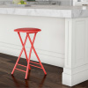 Folding Stool ? Heavy Duty 24-Inch Collapsible Padded Round Stool with 300 Pound Limit for Dorm, Rec or Gameroom by Trademark Home (Red)