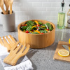 10.25-Inch Bamboo Salad Bowl with Utensils ? FDA Certified Modern Round Wood Dinnerware Eco-Friendly and Bacteria Resistant by Classic Cuisine