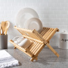 Dish Drying Rack ? Folding Natural Bamboo Kitchen Essentials Countertop Drainer and Organizer for Dinnerware, Utensils and Flatware by Classic Cuisine