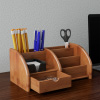 5 Compartment Bamboo Desk Organizer - Wooden Office Supply Storage Accessory with Drawers and Natural Finish for Home, School or Office by Lavish Home