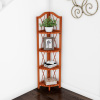 Folding Corner Shelf- 4 Tier Wooden Bookcase- For Display Shelving for Living Room, Bathroom, Kitchen or Office- Freestanding Organizer by Lavish Home