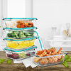 Glass Food Storage Containers-5, One Compartment Portion Control Meal Prep Glassware with Snap Shut Lids-Microwave, Dishwasher Safe by Classic Cuisine