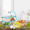 Glass Food Storage Containers-3, Two Compartment Portion Control Meal Prep Glassware with Snap Shut Lids-Microwave, Dishwasher Safe by Classic Cuisine