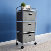 3 Drawer Rolling Storage Cart on Wheels? Portable Metal Storage Organizer with Fabric Bins for Home, Office, Dorm Room and Classroom by Lavish Home
