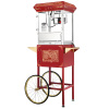 Popcorn Machine & Cart-Antique Style Old Time Popper- 8oz Kettle, Warming Tray, Stand with Wheels, 2 Shelves & Cabinet by Great Northern Popcorn (Red)