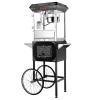 Popcorn Machine & Cart- Antique Style Old Time Popper- 8oz Kettle, Warming Tray, 18-Inch Wheels, 2 Shelves & Cabinet by Great Northern Popcorn (Black)