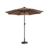 Villacera 9' LED Lighted Outdoor Patio Umbrella with 8 Steel Ribs and Push Button Tilt, Solar Powered Market Umbrella, Brown