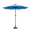 Villacera 9' LED Lighted Outdoor Patio Umbrella with 8 Steel Ribs and Push Button Tilt, Solar Powered Market Umbrella, Blue