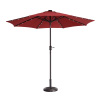 Villacera 9' LED Lighted Outdoor Patio Umbrella with 8 Steel Ribs and Push Button Tilt, Solar Powered Market Umbrella, Red