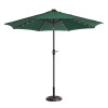 Villacera 9' LED Lighted Outdoor Patio Umbrella with 8 Steel Ribs and Push Button Tilt, Solar Powered Market Umbrella, Forest Green
