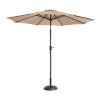 Villacera 9' Outdoor Patio Umbrella with 8 Ribs, Aluminum Pole and Auto Tilt, Fade Resistant Market Umbrella, Beige