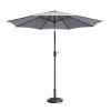 Villacera 9' Outdoor Patio Umbrella with 8 Ribs, Aluminum Pole and Push Button Tilt, Fade Resistant Market Umbrella, Gray
