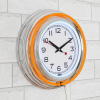 Neon Wall Clock- 14? Round, Double Light Ring, Dual Power, Analog Quartz Timepiece- Retro Décor for Bar, Garage & Game Room by Lavish Home (Orange)