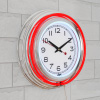 Neon Wall Clock- 14? Round, Double Light Ring, Battery Operated, Analog Quartz Timepiece-Retro Décor for Bar, Garage & Game Room by Lavish Home (Red)