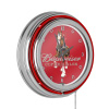 Budweiser Chrome Double Rung Neon Clock - Clydesdale Red