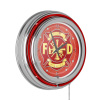 Fire Fighter 14 Inch Neon Wall Clock