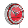 Corvette C5 Neon Clock - 14 inch Diameter - Red
