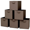 Storage Cubes-6-Piece Set Fabric Foldable Container Bins for Home, Office, Nursery-Organize Toys, Books, Clothes and More by Home-Complete (Brown)