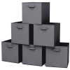 Storage Cubes-6-Piece Set Fabric Foldable Container Bins for Home, Office, Nursery-Organize Toys, Books, Clothes and More by Home-Complete (Gray)