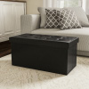 Folding Storage Bench Ottoman?30? Faux Black Leather-Foam Padded Lid-Removable Bin-Organizer for Home, Bedroom, Living Room & Kid Toys by Lavish Home