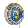 NBA Chrome Double Rung Neon Clock - City - Golden State Warriors