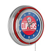 Los Angeles Clippers NBA Chrome Double Ring Neon Clock