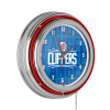 NBA Chrome Double Rung Neon Clock - City - Los Angeles Clippers