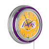 NBA Chrome Double Rung Neon Clock - City - Los Angeles Lakers