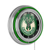 Milwaukee Bucks NBA Chrome Double Ring Neon Clock