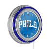 NBA Chrome Double Rung Neon Clock - Fade - Philadelphia 76ers